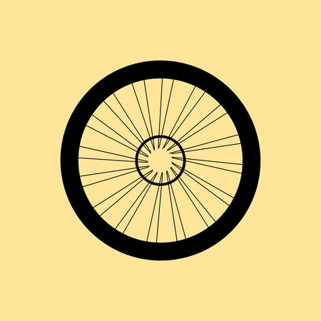 vector tyre: vector silhouette of a bicycle wheel with tyre and spokes
