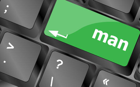 web scam: man words on computer pc keyboard keys. Keyboard keys icon button vector