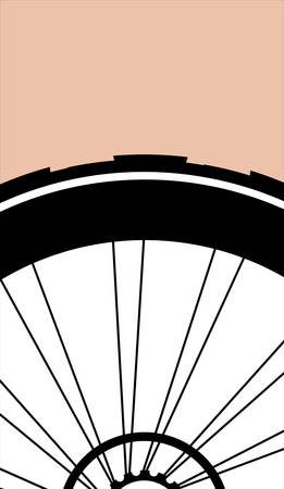 one wheel bike: vector silhouette of a bicycle wheel with tyre and spokes