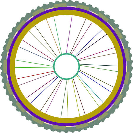 spokes: vector silhouette of a bicycle wheel with tyre and spokes isolated on white