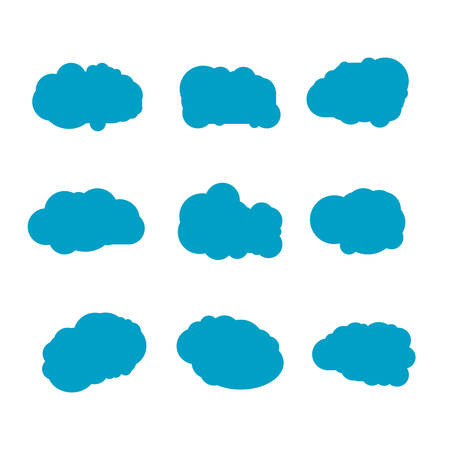 Set of blue sky, clouds. Cloud icon, cloud shape. Set of different clouds. Collection of cloud icon, shape, label, symbol. Graphic element vector. Vector design element , web and print