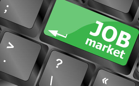 job market: Job market key on the computer keyboard. Keyboard keys icon button vector