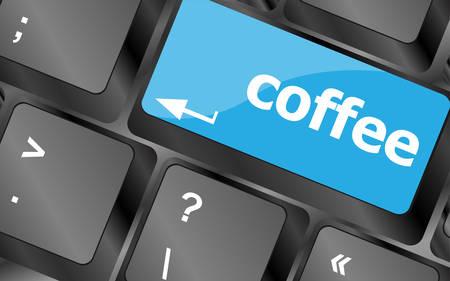 weariness: computer keyboard keys with coffee break button. Keyboard keys icon button vector Illustration