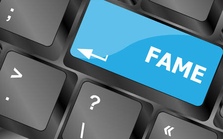 fame: Computer Keyboard with Fame Key. Keyboard keys icon button vector