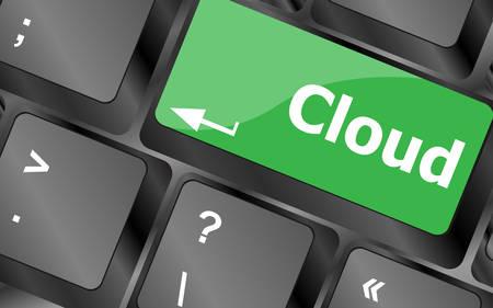 keyboard keys: keyboard key with cloud computing button. Keyboard keys icon button vector Illustration
