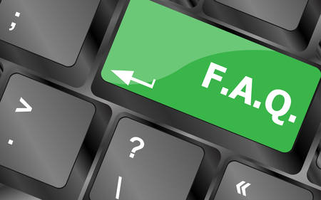 keyboard keys: keyboard with faq button - business concept. Keyboard keys icon button vector