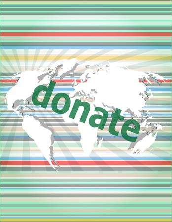 generosity: business concept: words donate on digital touch screen vector quotation marks with thin line speech bubble. concept of citation, info, testimonials, notice, textbox