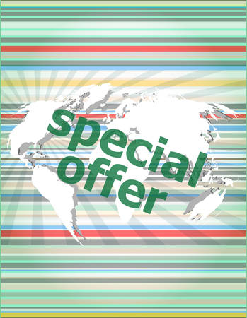 map case: special offer text on digital screen vector illustration