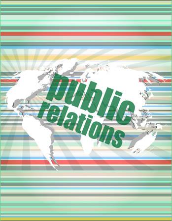social concept: public relations words on digital screen, 3d vector illustration Illustration