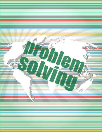 problem solving: business concept: words problem solving on digital screen vector illustration Illustration