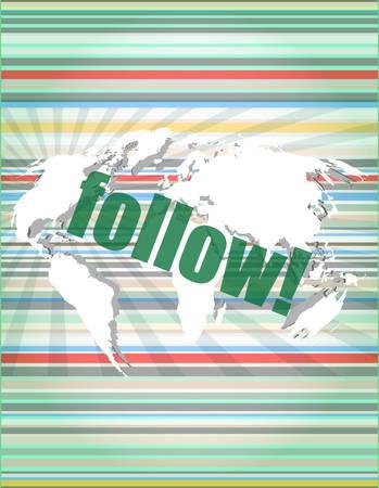 microblog: Social media concept: words Follow on digital background vector illustration