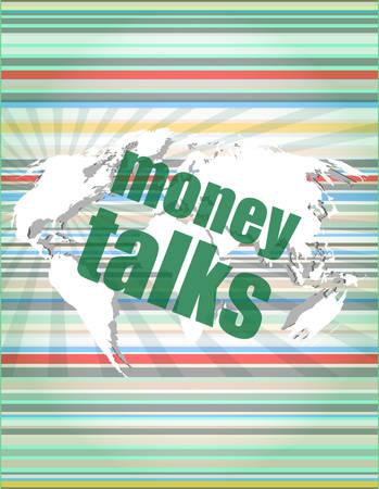 conversaciones: el dinero habla palabras de control digital de ilustración vectorial pantalla