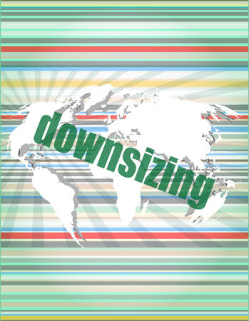 downsizing: Business concept: words Downsizing on digital background vector illustration