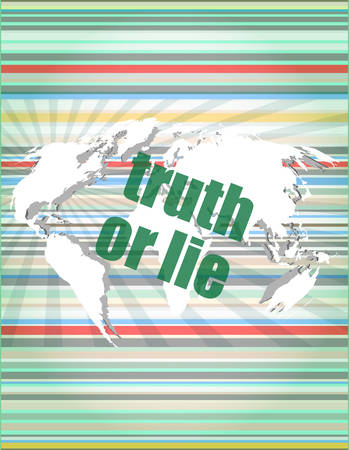 truth or lie text on digital touch screen interface vector illustration