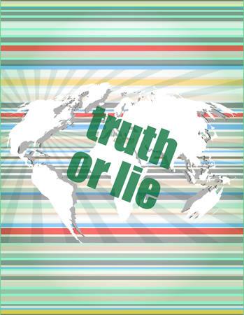 vérité ou mensonge texte sur écran tactile numérique vecteur d'interface illustration