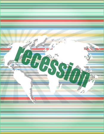 recession: Business concept: words recession on business digital screen, 3d vector illustration Illustration