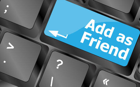 add as friend: Social media concept: Keyboard with Add As Friend button. Keyboard keys icon button vector
