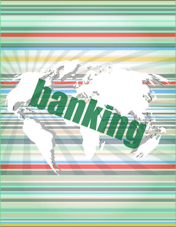 banking word on touch screen, modern virtual technology background vector illustration
