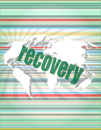 recovery: Information concept: word recovery on digital background vector illustration