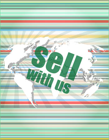 buy shares: Sell with us word on digital screen vector illustration Illustration