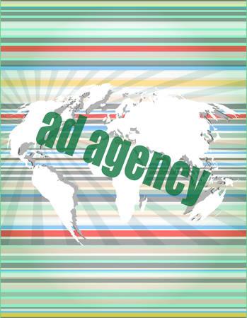 pixeled: Pixeled word Ad agency on digital screen 3d render vector illustration Illustration
