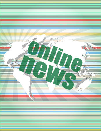 online news: business concept: words online news on digital touch screen vector illustration