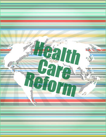 reform: health care reform word on touch screen, modern virtual technology background vector quotation marks with thin line speech bubble. concept of citation, info, testimonials, notice, textbox. flat style design