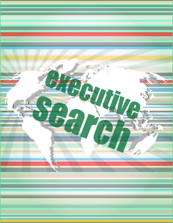 executive search: executive search word on digital screen, mission control interface hi technologyvector quotation marks with thin line speech bubble. concept of citation, info, testimonials, notice, textbox. flat style design Illustration