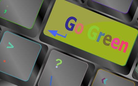 environmentalist: A keyboard with a key reading Go Green vector keyboard key. keyboard button. Vector illustration