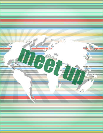meet up: meet up words on digital touch screen, business conceptvector quotation marks with thin line speech bubble. concept of citation, info, testimonials, notice, textbox. flat style design