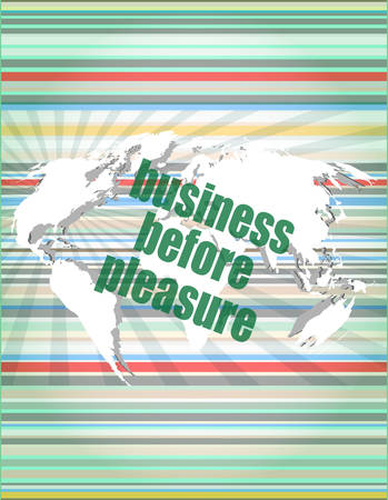 pleasure: business before pleasure words on digital touch screen, business concept vector quotation marks with thin line speech bubble. concept of citation, info, testimonials, notice, textbox. flat style design