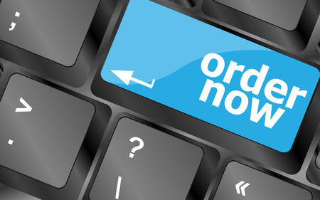 computer key: Order now computer key showing online purchases and shopping. Keyboard keys icon button vector
