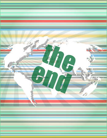 end of the world: the end word on digital touch screen, business concept vector quotation marks with thin line speech bubble. concept of citation, info, testimonials, notice, textbox. flat style trend modern logo design vector illustration