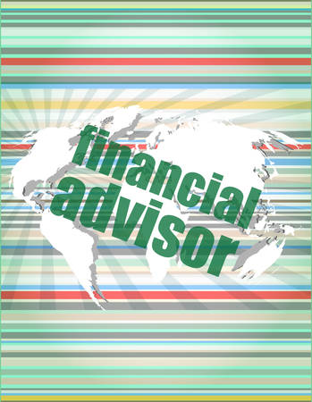 advisor: financial advisor word on digital screen, mission control interface hi technology vector illustration
