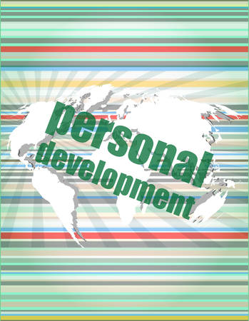 personal development: word personal development on digital screen 3d vector illustration