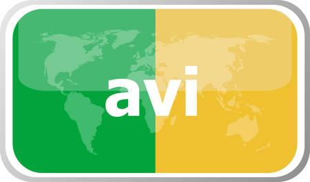 avi: avi word on vector web button icon isolated on white. World earth map icon vector illustration. Illustration