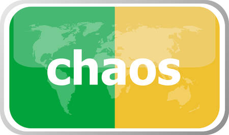 chaos: chaos. Flat web button icon. World map earth icon. Vector illustration Illustration