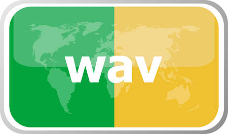 wav: wav word on vector web button icon isolated on white. World earth map icon vector illustration.