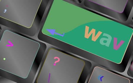 wav: wav word on keyboard keys button vector keyboard key. keyboard button. Vector illustration Illustration