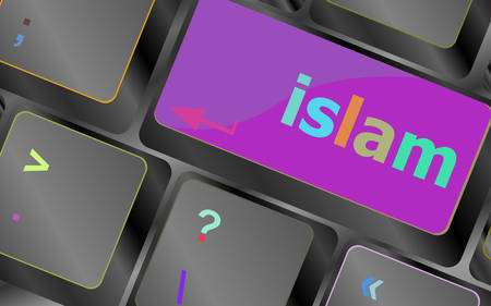 computer key: islam word on computer key on enter button vector keyboard key. keyboard button. Vector illustration Illustration