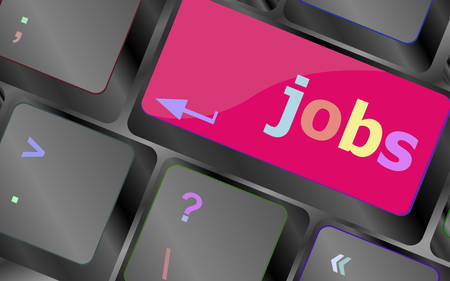 jobless: Computer keyboard with JOB enter key - business concept vector keyboard key. keyboard button. Vector illustration Illustration