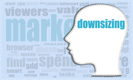 downsizing: downsizing, vector head, profile icon, woman head silhouette, business man head. vector illustration