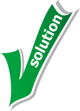 green check mark: solution word on green check mark symbol and icon for approved design concept and web graphic on white background. Illustration