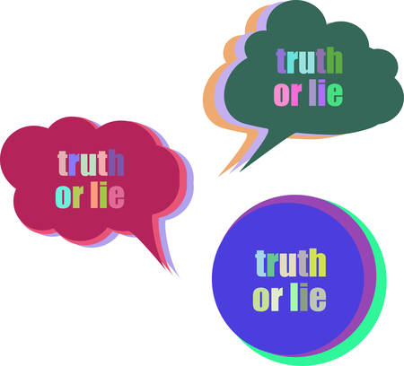 to lie: truth or lie. Set of stickers, labels, tags. Template for infographics. Icon set. Icon flat. Vector illustration