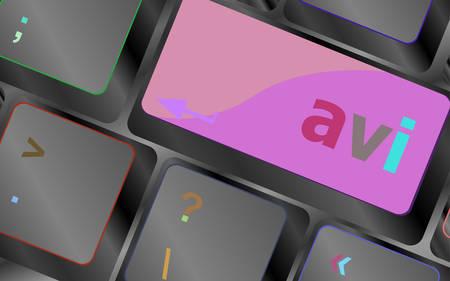 avi: Closeup of avi key in a modern keyboard keys vector illustration vector keyboard key. keyboard button. Vector illustration Illustration