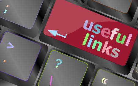 useful: useful links keyboard button - business concept vector keyboard key. keyboard button. Vector illustration Illustration