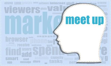 meet up: meet up, vector head, profile icon, woman head silhouette, business man head. vector illustration, meet up icon, meet up button, meet up vector, head woman, head man