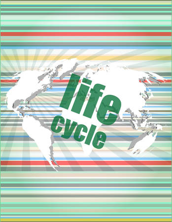 life cycle words on digital touch screen vector quotation marks with thin line speech bubble. concept of citation, info, testimonials, notice, textbox. flat style Illustration
