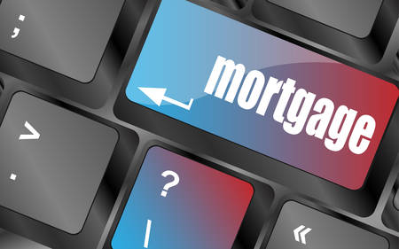 single word: Keyboard with single button showing the word mortgage, vector, keyboard keys, keyboard button Illustration