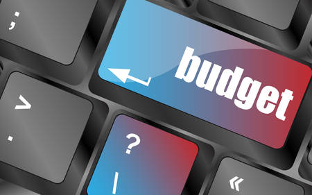 budgetary: A keyboard with a key reading budget vector, keyboard keys, keyboard button